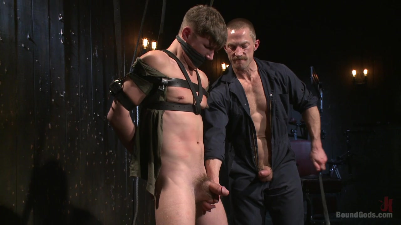 Gagged gay lad enjoys older male for a wild BDSM